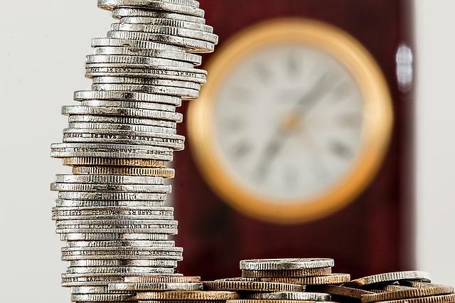 mince, peníze, hodiny