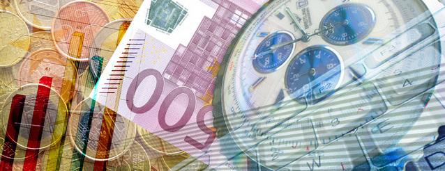 čas a investice znázorněné hodinami a penězi